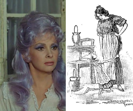 Gina Lollobrigida plays the Blue Fairy in the beautiful Comencini tv series, a Chiostri's illustration in the first editions of the book.