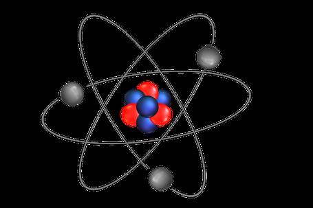 Atomkern und Elektronen.
