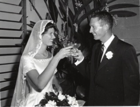 Rita and Skip at their wedding in Oahu in 1956