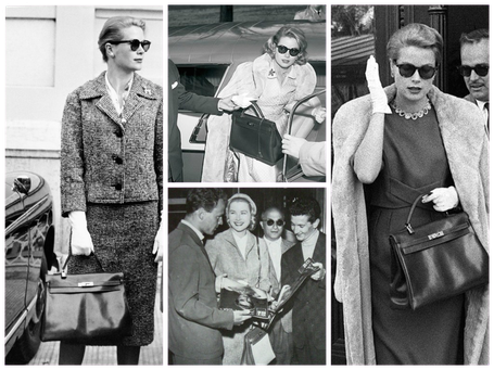 Créé par Hermès en 1935, le sac doit son nom à Grace Kelly, l'élégance même. Il devient un mythe en 1956 grâce à une photo publiée dans Life Magazine.