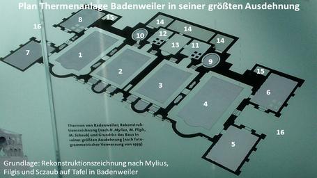 Plan Termenanlage Badenweiler in ihrer größten Ausdehnung: 1 - 4 Räume mit Thermalwasserbecken; 5 - 8 Auskleide- bzw. Ruheräume; 9 - 10 Kaltwasserbecken; 11 - 12 Schwitzräume mit Hypokausten; 13 Heizraum, 14 Serviceräume; 15 Heizräume; 16 Terrassen/Höfe
