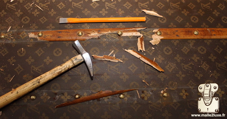 wood old in a louis vuitton trunk