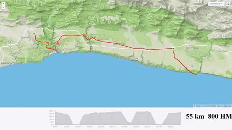 Garden Route Karte Stormsriver - Höhenprofil