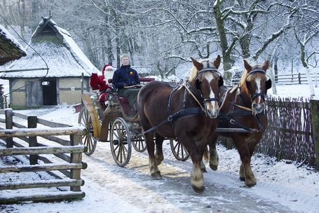 Bild: Der Weihnachtsmann kommt auf dicker Schneedecke mit dem Schlitten angefahren, Hohoho!