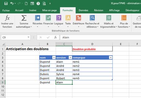 XLpourTPME : Les fonctions Excel permettent de concevoir une formule pour repérer les doublons dès la saisie