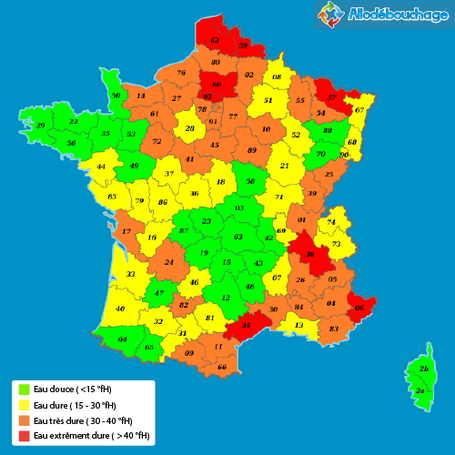 Carte du taux calcaire en France