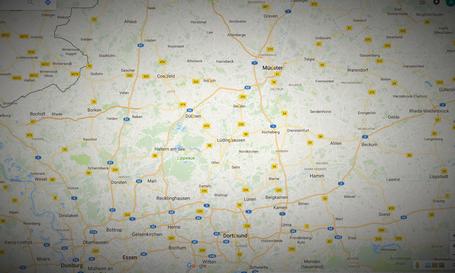 Landkarte  NRW Städte des Ruhrgebiets, Münsterland, Bochum, Duisburg, Mülheim, Oberhausen, Dortmund, Lippstadt, Ahaus