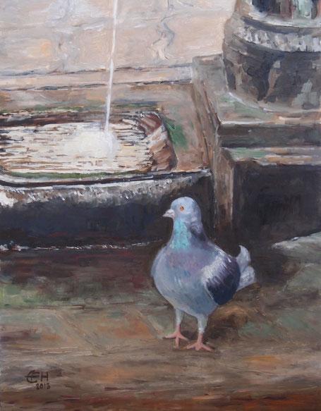Taube in Venedig Öl_Holzplatte