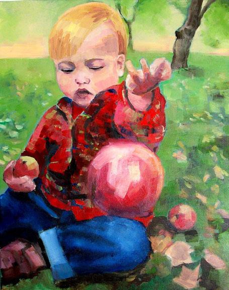Laurenz und die Äpfel  Öl_Lwd.40x50cm