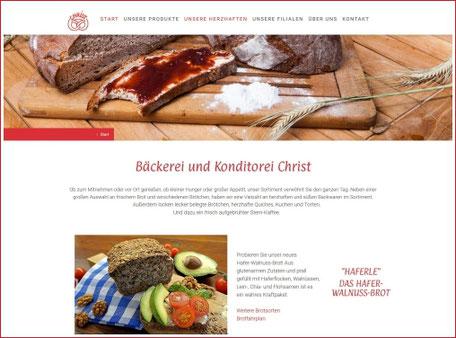 Webseite Bäckerei Christ in Kronberg