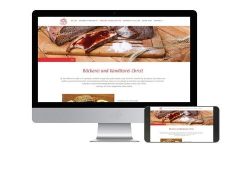 Webseite Bäckerei Christ in Kronberg auf PC und Mobilgerät