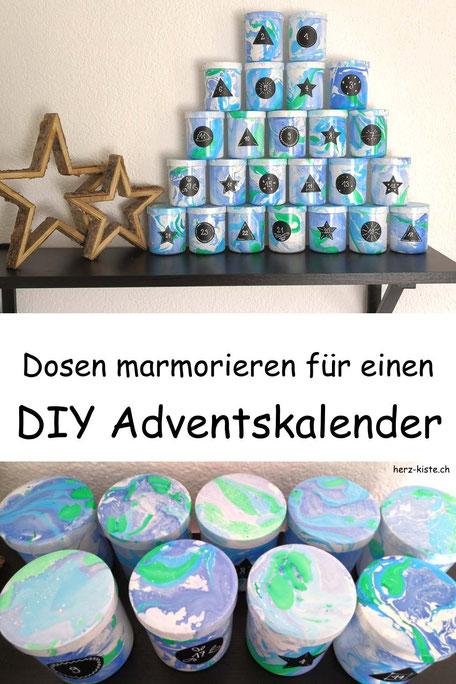 DIY Adventskalender selber machen aus marmorierten Dosen - eine Schritt für Schritt Anleitung für deinen effektvollen und selbstgemachten Adventskalender