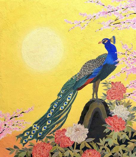 「春の息吹」 雲母壁面画 550×475mm