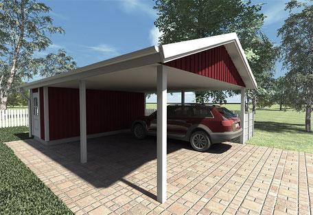Berg-Schwedenhaus Doppel-Carport