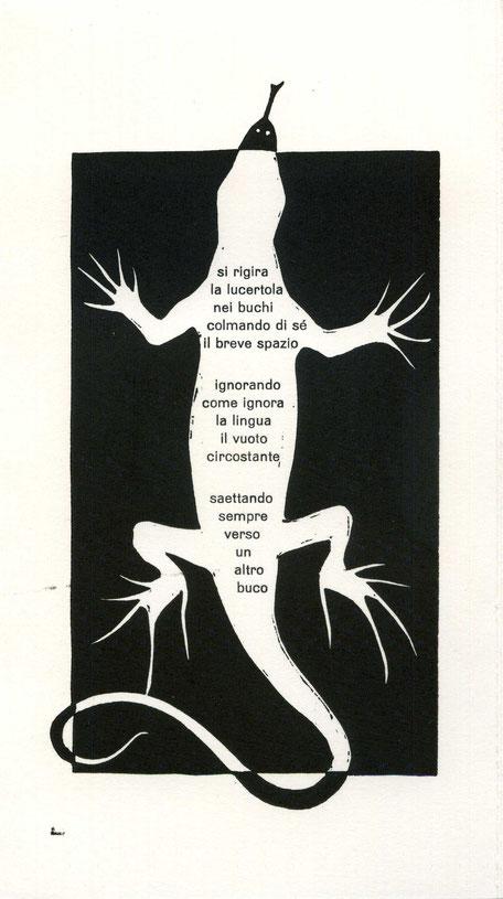 stampa tipografica e linoleum originale di Luciano Ragozzino - lastra 190x100 mm