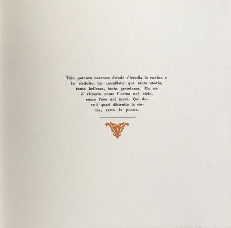 pagina con stampa tipografica in nero e cul-de-lampe xilografico