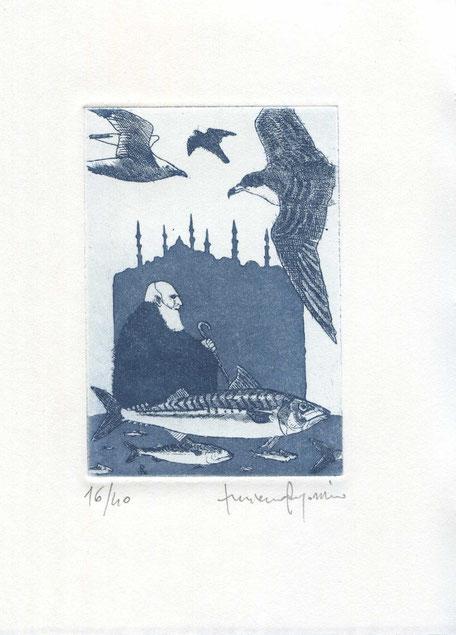 acquaforte-acquatinta originale di Luciano Ragozzino numerata e firmata - lastra 100x70 mm