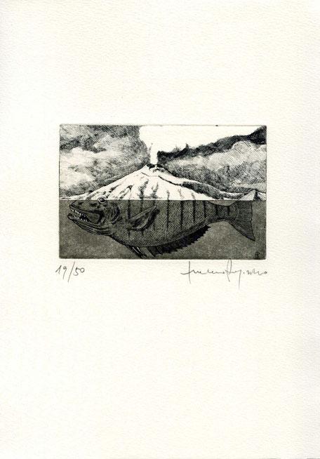 acquaforte originale di Luciano Ragozzino numerata e firmata - lastra 70x108 mm