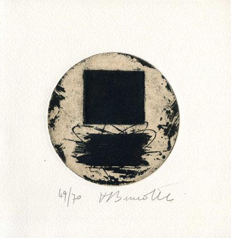 incisione originale dell'autore numerata e firmata - lastra diametro 85 mm
