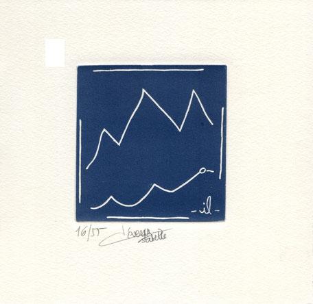 acquaforte originale dell'autore numerata e firmata - versione grigio-blu