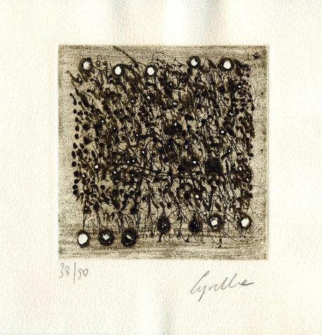 acquaforte-puntasecca originale dell'autrice numerata e firmata - lastra 97x97 mm