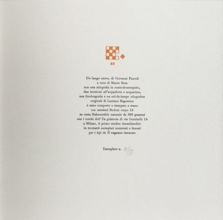 colophon tipografico a due colori numerato