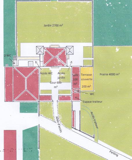 Plan des différents espaces à louer au coeur du vignoble Château La Hitte AOC Buzet