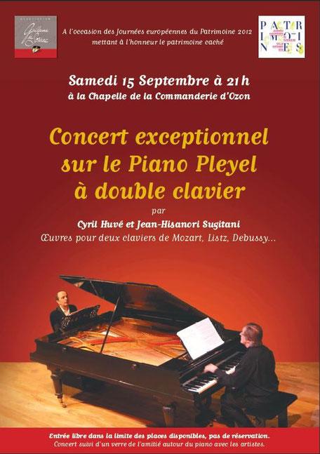 affiche recto de concert sur piano double Pleyel par Cyril Huvé et Hisanori Sugitani 156 septembre 2012