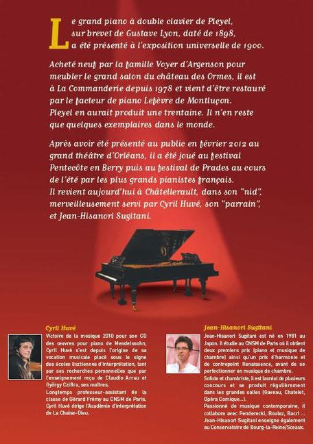 Affiche verso concert sur piano double Pleyel par Cyril Huvé et Hisanori Sugitani15 septembre 2012
