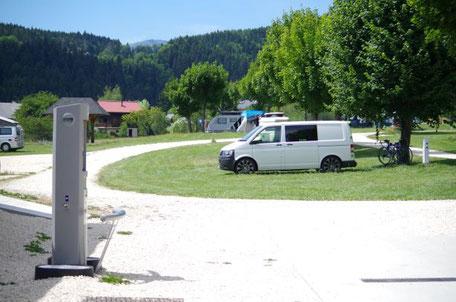 Emplacements stabilisés pour camping-car, camping la Virette, Sappey en Chartreuse