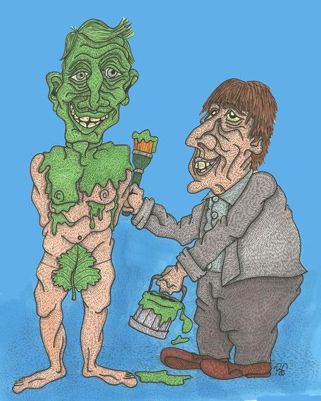 greenwashing, tryo, macron, nicolas hulot, peintre, l'incongru, dessin, satirique, journal, caricature