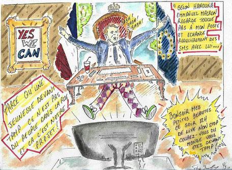 macron, tpmp, hanouna, manifestation, l'incongru' journal satirique, caricature, politique