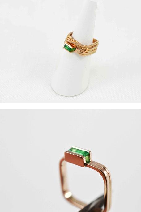 ring-rosé goud-smaragd-handgemaakt in belgie