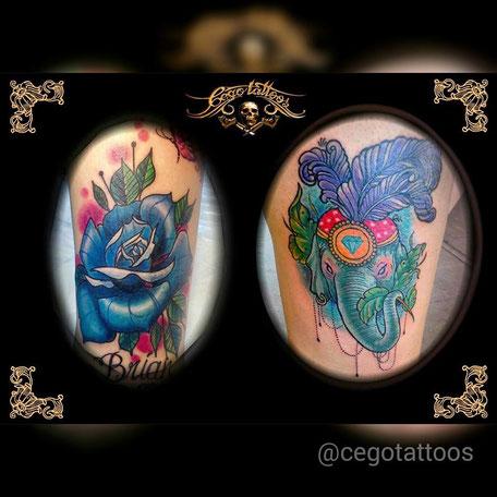 Cego Tattoos Studio in Portimão,Algarve,Portugal mit Bunten Blumen und Elefant.
