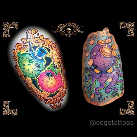 Cego Tattoos Studio in Portimão,Algarve,Portugal mit Bunten Fischen.