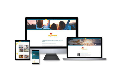 """Webdesign Referenz mit Responsive Webdesign Abbildungen für """"Soziale Dienste Pällmann, Hilfen im Alltag"""" von Funkenflug Design Münster."""