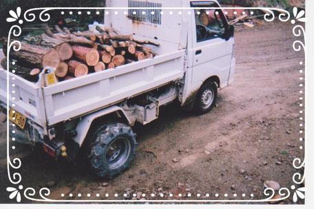 【楽輪】品番001番 ダンプ軽トラで原木運搬(右後方より)