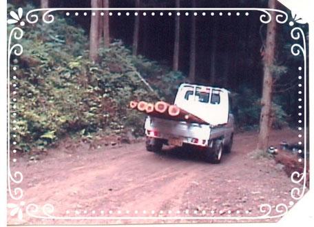 【楽輪】品番001番 間伐材を積んで斜度17度の林道走行(下り)