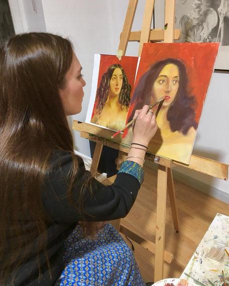 Portrait malen lernen in der Kunstschule Artgeschoss in Berlin