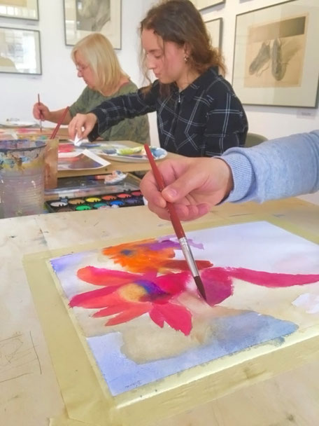 Aquarellmalerei Workshop in Kunstschule Artgeschoss, Berlin-Charlottenburg