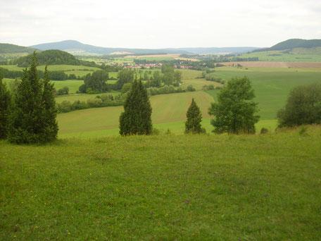 """Blick von der Rossbergshütte auf die offenen Fernen der Rhön, rechts der """"Horn"""", links hinten der """"Baier"""""""