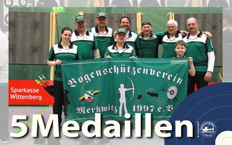 Der BSV Merkwitz 1997 e.V. bei der  2. Regio-Meisterschaft Ost des Deutschen Feldbogenverbands in der Halle, 20.02.2016, mit 5 Medaillen