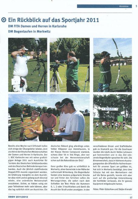 Artikel-Beitrag in der Bogensport INFO über die 12. DM-Bogenlaufen 2011 in Merkwitz