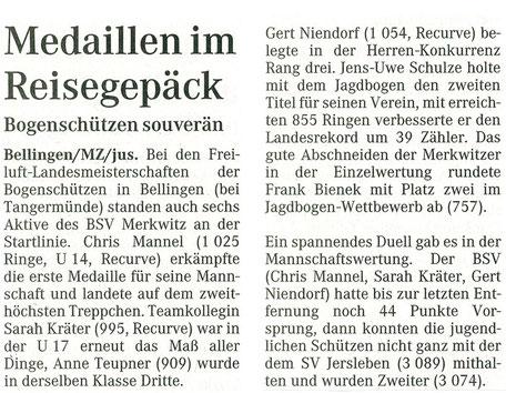 Freiluft Landesmeisterschaft in Bellingen - Merkwitzer stellt neuen Landesrekord auf