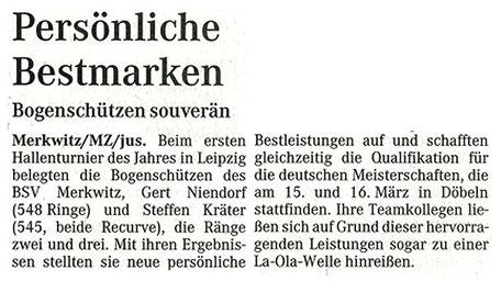 Merkwitzer Bestmarken beim Leipziger Hallenturnier