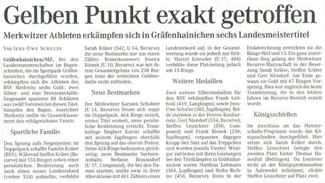 Merkwitzer Bogenschützen holen den Landesmeistertitel nach Bad Schmiedeberg/ Merkwitz