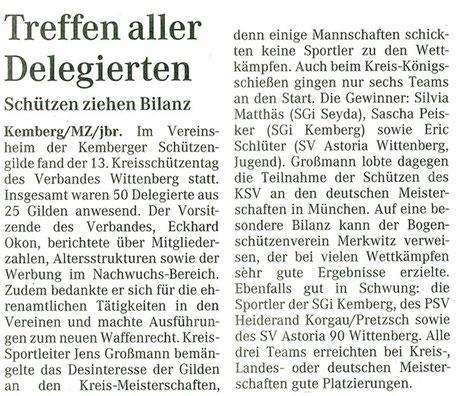 Kreisschützentag des Verbandes Wittenberg in Kemberg