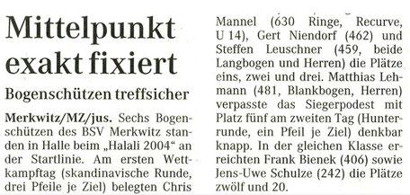 3D Bogensport - Halali 02./ 03.10.2004 in Halle