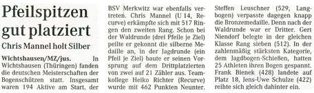 Merkwitzer holt Silber bei der DM 3D am 25./ 26.09.2004 in Wichtshausen