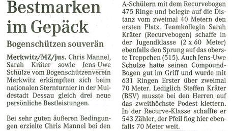 Sehr gute Ergebnisse von den BSV Merkwitzer Bogensportler beim Nationalen Sternenturnier in Dessau